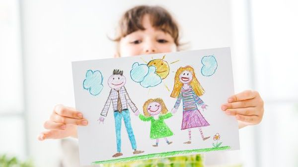 child, drawing, family, wellness